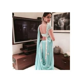Richlady Fashion Sonam Kapoor Georgette Lace Work Blue Saree