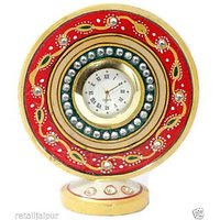 Jaipur Marble Handicraft 4.5 Round Table Watch Home Decor Gift Item Meenakari