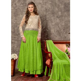 Vastrani White & Green Coloured Embroidered Semi Stiched Anarkali 167D6006