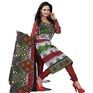 Madhav Enterprise White & Red Cotton Printed Dress Material Md10009