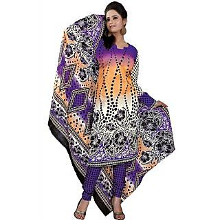 Madhav Enterprise Blue & Yellow Cotton Printed Dress Material Md10010