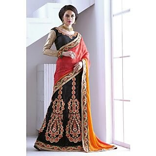Designer Lehenga Saree Red And Black