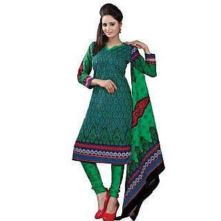 Madhav Enterprise Green Cotton Printed Dress Material Md10011