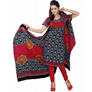 Madhav Enterprise Black Cotton Printed Dress Material Md10012