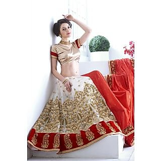 Designer Lehenga Saree Red And White