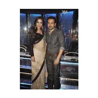 Richlady Fashion Humaima Malik Net Machine Work Cream Saree