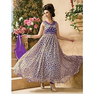 Thankar Attractive Net Brasso Designer Purple Anarkali Suits