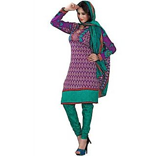 Madhav Enterprise Purple Cotton Printed Dress Material Md10014