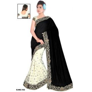 Ladies Gorgeous Velvet Saree Black And Off White