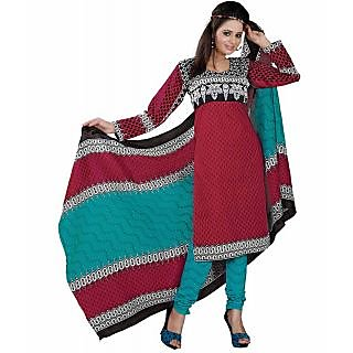 Madhav Enterprise Red Cotton Printed Dress Material Md10017