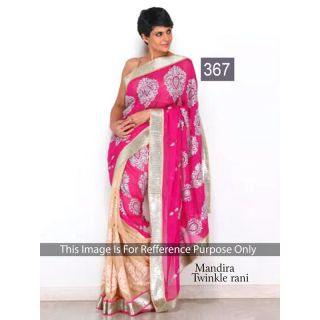 Richlady Fashio Mandira Bedi Chiffon Machine Work Pink & Cream Saree