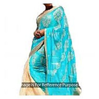 Richlady Fashion Mandira Bedi Chiffon Machine Work Blue & Cream Saree