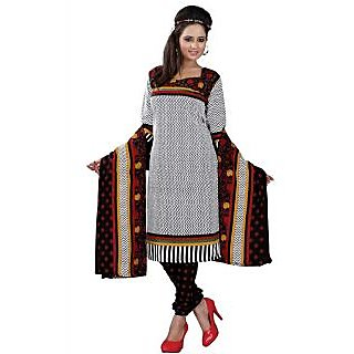 Madhav Enterprise White Cotton Printed Dress Material Md10018