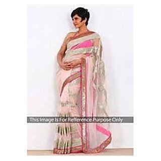 Richlady Fashion Mandira Bedi Net Machine Work Pink Saree