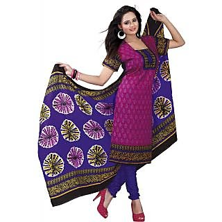 Madhav Enterprise Pink Cotton Printed Dress Material Md10019
