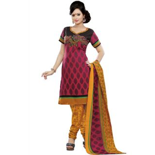 Madhav Enterprise Red Cotton Printed Dress Material Md10020