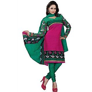 Madhav Enterprise Pink Cotton Printed Dress Material Md10021