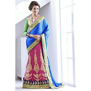 Bollywood Designer Lehenga Saree  Pink And Blue