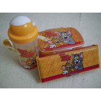 Tom & Jerry Lunch Box, Pencil Box & Water Bottle Combo Set Of Three
