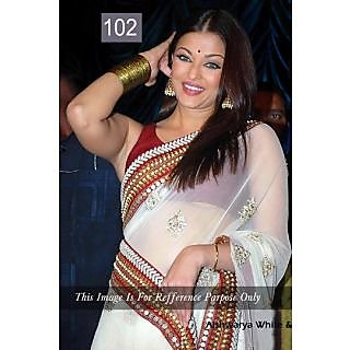 Bollywood Replica Saree - Aishwarya White & Red