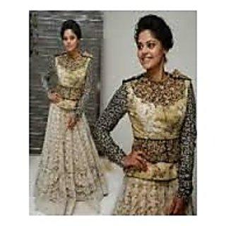 Richlady Fashion Bindu Madhavi Net Thread & Border Work Cream Lehnga Choli