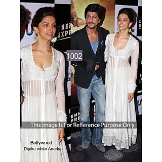 Bollywood Replica Collection White Anarkali Worn By Deepika Padukone