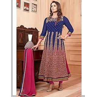 Thankar New Attractive Embroidery Blue And Pink Anarkali Suit With Long Sleeve