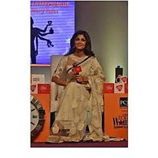 Richlady Fashion Shilpa Shetty Net Thread Work Cream Saree