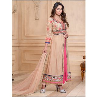 Thankar New Attractive Embroidery Floor Length Cream Anarkali Suit With Long Sle