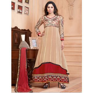 Thankar New Attractive Embroidery Floor Length Cream And Red Anarkali Suit With