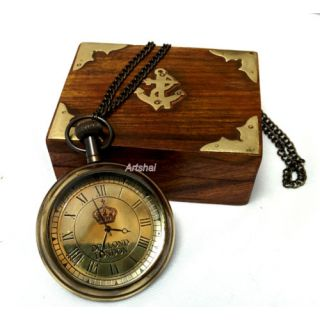 Artshai Dollond London Design Pocket Watch With Sheesham Wood Box