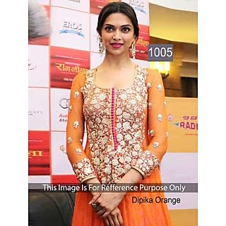 Bollywood Replica Collection Orange Dress Material Worn By Deepika Padukone