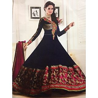 Anarkali Suit Navy Blue Color Designer Long Style Semi Stitch  - 18003