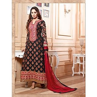 Thankar Latest Designer Heavy Black And Red Embroidery Straight Suit