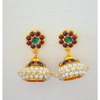 Meena Work Gold Plated Pearl Stuuded Jhumki Earring