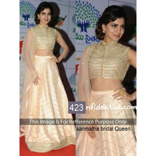 Samantha Golden Crème Lehenga By Purple Oyster
