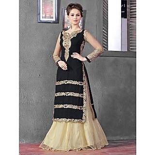 Thankar Latest Designer Heavy Black And Cream Embroidery Indo Western Style Stra
