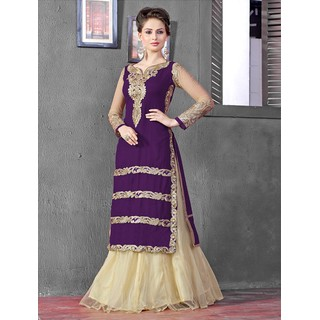 Thankar Latest Designer Heavy Vioiet And Cream Embroidery Indo Western Style Str