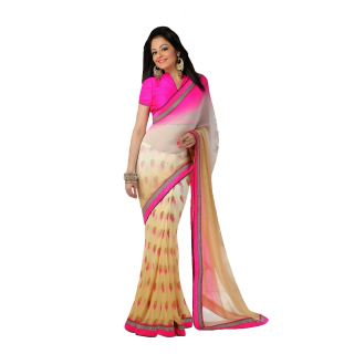 FabPandora Women's Cream,hot Pink Georgette Saree With Blouse Piece