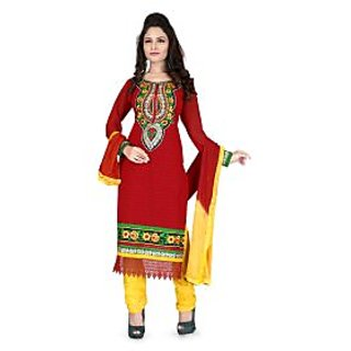 Krizel Senorita Georgette Maroon Unstitched Salwar Suit Dress Material