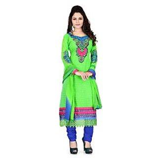 Krizel SenoritaGeorgette Popat Green Unstitched Salwar Suit Dress Material