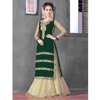 Thankar Latest Designer Heavy Green And Cream Embroidery Indo Western Style Stra
