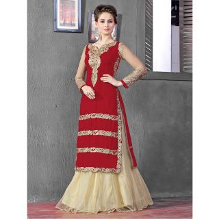 Thankar Latest Designer Heavy Red And Cream Embroidery Indo Western Style Strait