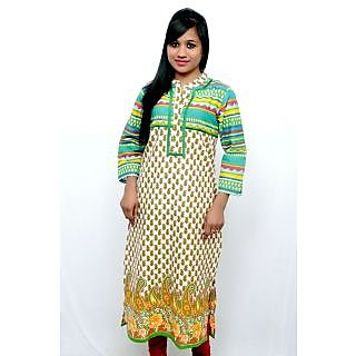 Shop Avenue Green/Yellow Cotton Printed Kurti (WGS02003)