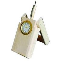 Khan Handicrafts Wooden Folding Pen Stand With Analog Clock