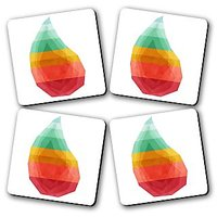 Geo Drop Printed Wooden Kitchen Coaster Set Of 4