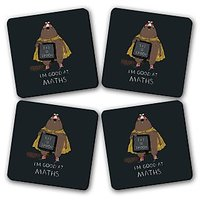 Good At Maths Printed Wooden Kitchen Coaster Set Of 4