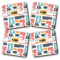 Guitar Collage Printed Wooden Kitchen Coaster Set Of 4