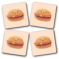 Lets Eat Printed Wooden Kitchen Coaster Set Of 4
