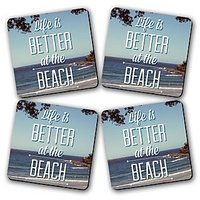 Life Is Better At Beach Printed Wooden Kitchen Coaster Set Of 4